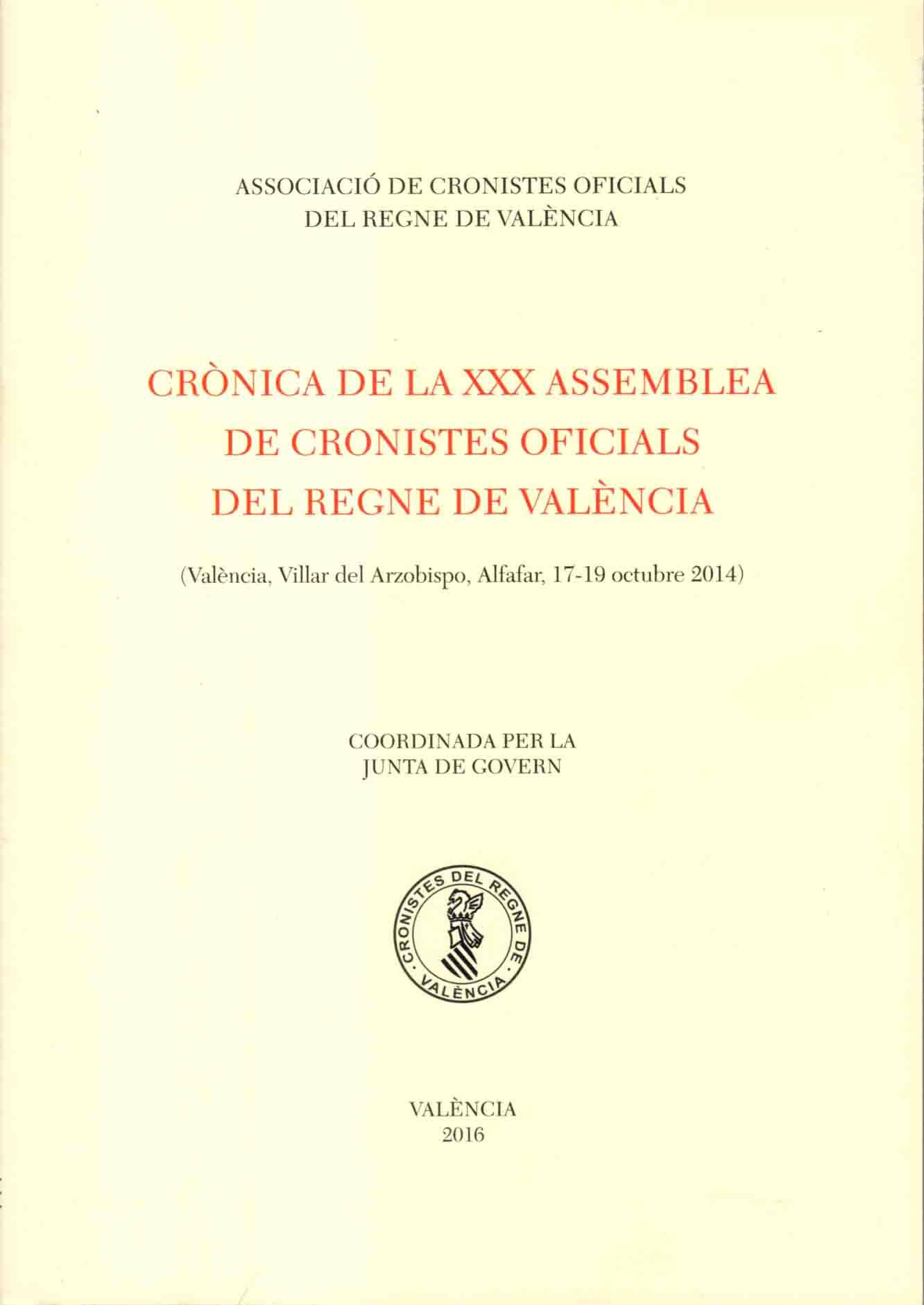 Portada 'Crónica de la XXX Asamblea ACORV'